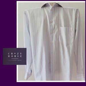 Crazy Horse Men's White Striped Shirt